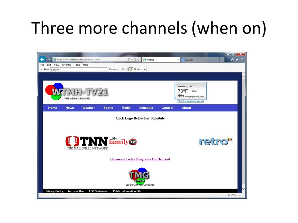 Three more channels (when on)