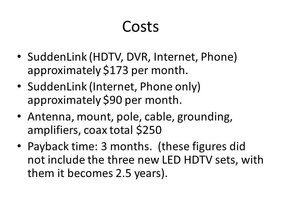 Costs SuddenLink (HDTV, DVR, Internet, Phone) approximately $173 per month.