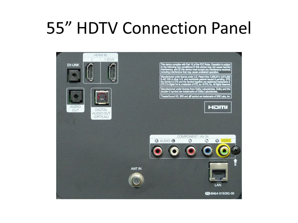 55 HDTV Connection Panel