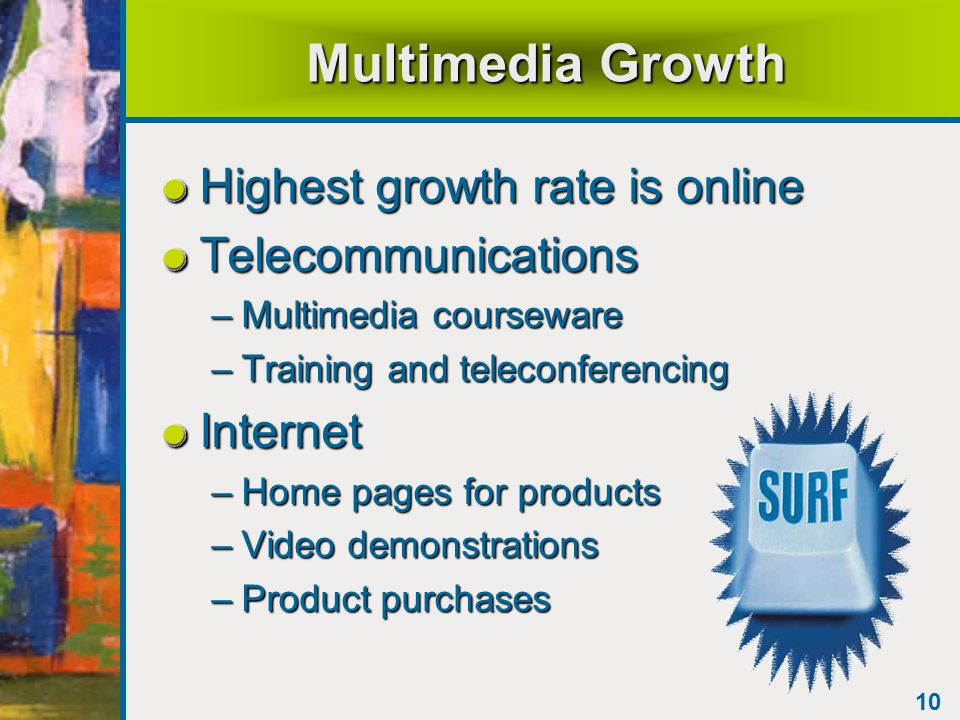 10 Multimedia Growth Highest growth rate is online Telecommunications –Multimedia courseware –Training and teleconferencing Internet –Home pages for products –Video demonstrations –Product purchases