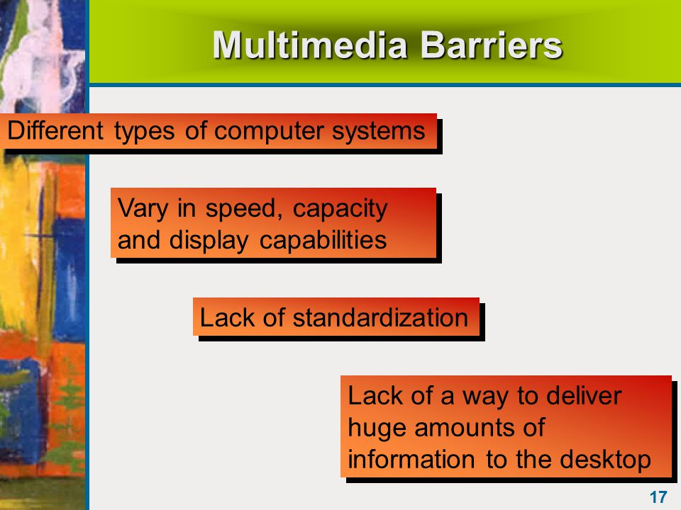 17 Multimedia Barriers Different types of computer systems Vary in speed, capacity and display capabilities Lack of standardization Lack of a way to deliver huge amounts of information to the desktop