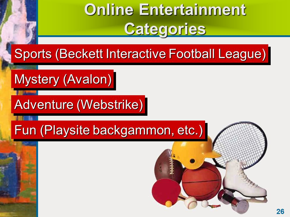 26 Online Entertainment Categories Sports (Beckett Interactive Football League) Mystery (Avalon) Adventure (Webstrike) Fun (Playsite backgammon, etc.)