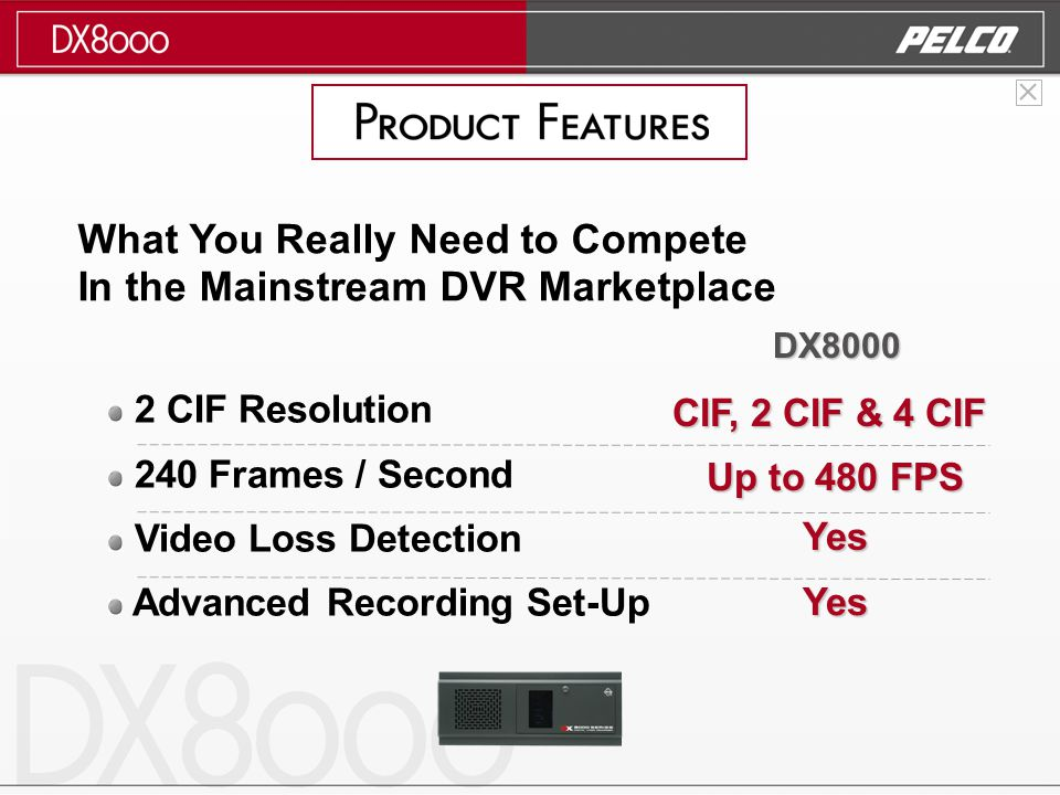 2 CIF Resolution 240 Frames / Second Video Loss Detection Advanced Recording Set-Up What You Really Need to Compete In the Mainstream DVR Marketplace CIF, 2 CIF & 4 CIF Up to 480 FPS Yes Yes DX8000