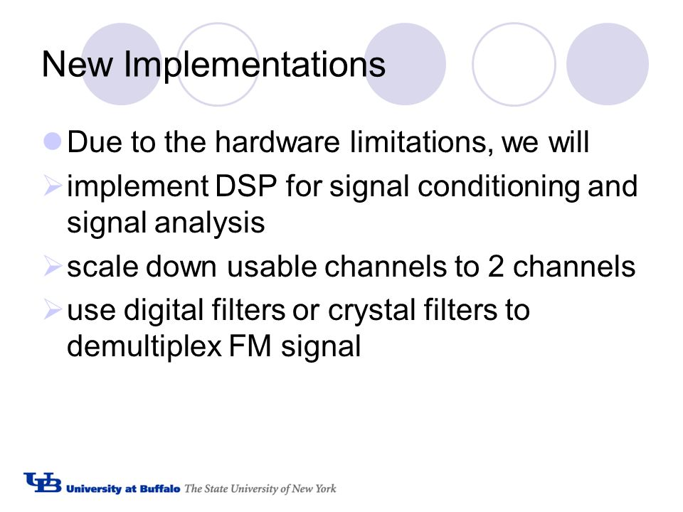 New Implementations Due to the hardware limitations, we will  implement DSP for signal conditioning and signal analysis  scale down usable channels to 2 channels  use digital filters or crystal filters to demultiplex FM signal