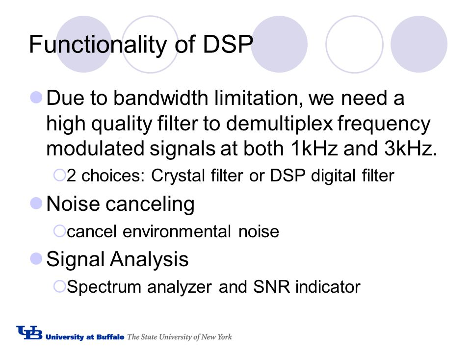 Functionality of DSP Due to bandwidth limitation, we need a high quality filter to demultiplex frequency modulated signals at both 1kHz and 3kHz.  2