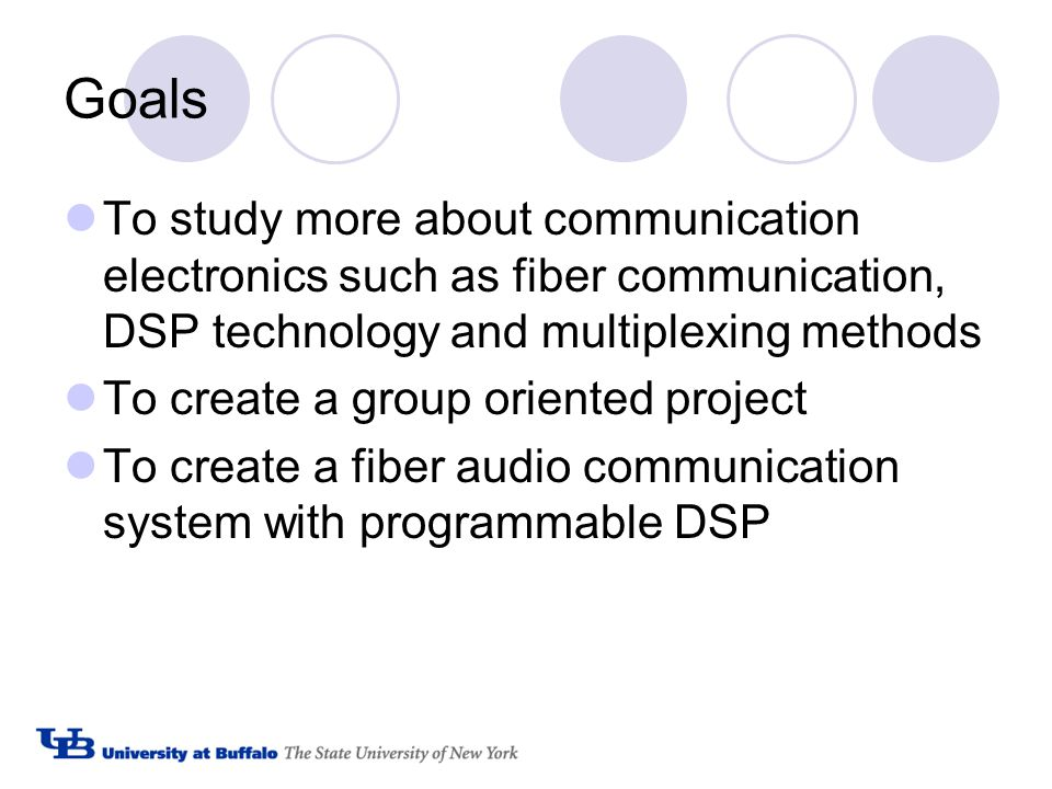 Goals To study more about communication electronics such as fiber communication, DSP technology and multiplexing methods To create a group oriented project To create a fiber audio communication system with programmable DSP