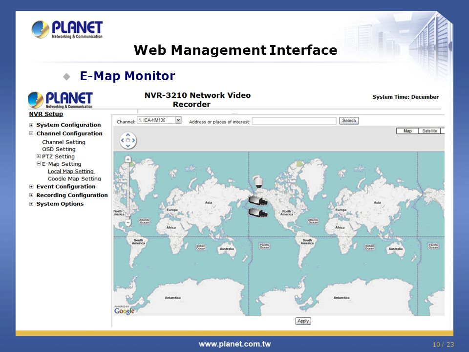 10 / 23 Web Management Interface  E-Map Monitor Click! Double Click!
