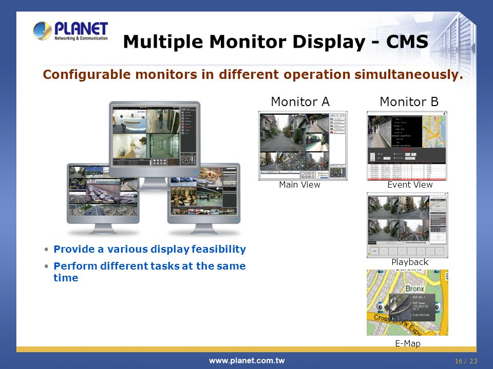 16 / 23 Provide a various display feasibility Perform different tasks at the same time Multiple Monitor Display - CMS Configurable monitors in differe