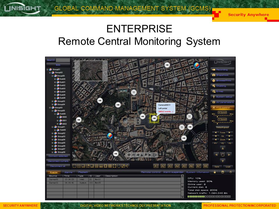 GLOBAL COMMAND MANAGEMENT SYSTEM (GCMS) Security Anywhere SECURITY ANYWHEREDIGITAL VIDEO NETWORKS TECHNOLOGY PRESENTATION Security Anywhere SECURITY ANYWHEREDIGITAL VIDEO NETWORKS TECHNOLOGY PRESENTATION PROFESSIONAL PROTECTION INCORPORATED ENTERPRISE Remote Central Monitoring System