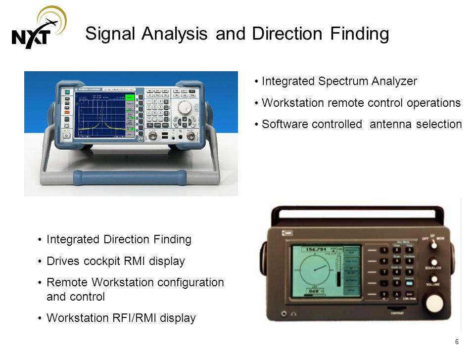6 Signal Analysis and Direction Finding Integrated Direction Finding Drives cockpit RMI display Remote Workstation configuration and control Workstation RFI/RMI display Integrated Spectrum Analyzer Workstation remote control operations Software controlled antenna selection