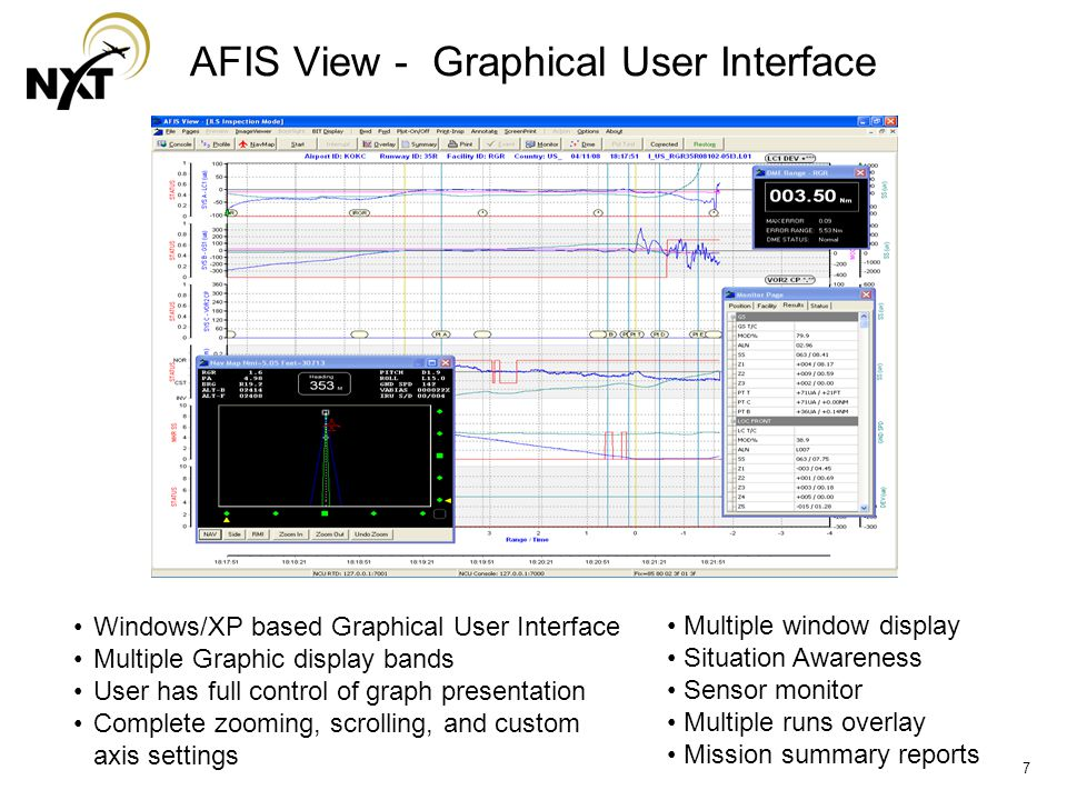 7 AFIS View - Graphical User Interface Windows/XP based Graphical User Interface Multiple Graphic display bands User has full control of graph presentation Complete zooming, scrolling, and custom axis settings Multiple window display Situation Awareness Sensor monitor Multiple runs overlay Mission summary reports