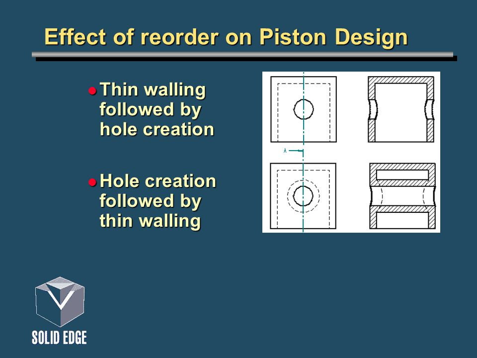 Effect of reorder on Piston Design Thin walling followed by hole creation Thin walling followed by hole creation Hole creation followed by thin walling Hole creation followed by thin walling