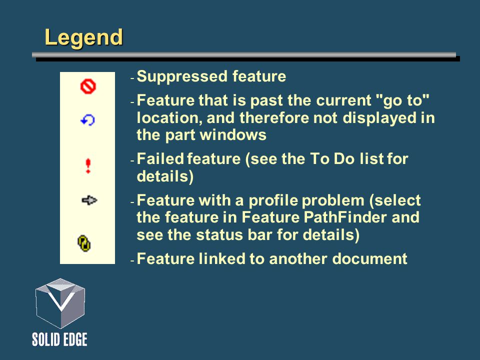 Legend - Suppressed feature - Feature that is past the current go to location, and therefore not displayed in the part windows - Failed feature (see the To Do list for details) - Feature with a profile problem (select the feature in Feature PathFinder and see the status bar for details) - Feature linked to another document