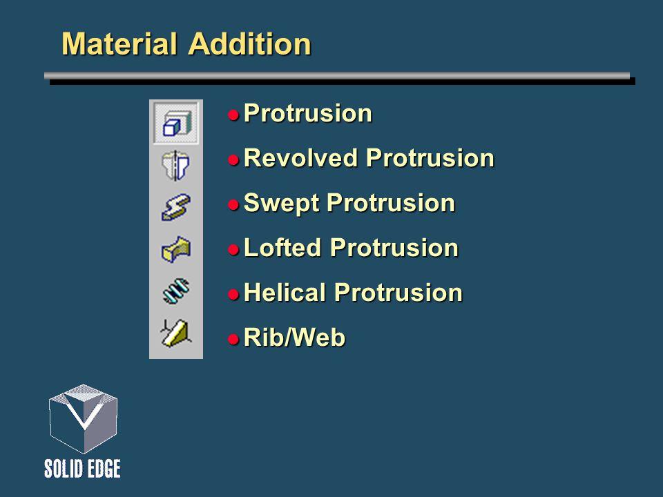 Material Addition Protrusion Protrusion Revolved Protrusion Revolved Protrusion Swept Protrusion Swept Protrusion Lofted Protrusion Lofted Protrusion Helical Protrusion Helical Protrusion Rib/Web Rib/Web