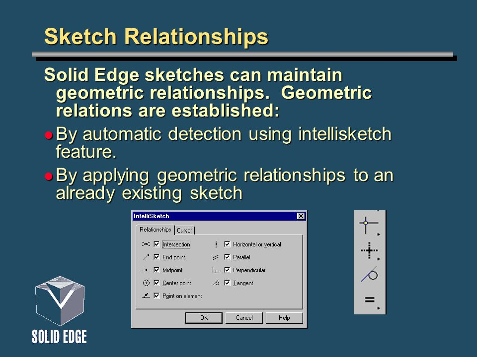 Sketch Relationships Solid Edge sketches can maintain geometric relationships. Geometric relations are established: By automatic detection using intel