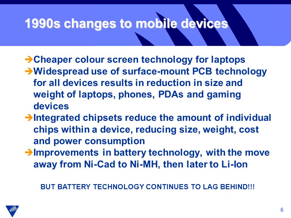 6 1990s changes to mobile devices è Cheaper colour screen technology for laptops è Widespread use of surface-mount PCB technology for all devices results in reduction in size and weight of laptops, phones, PDAs and gaming devices è Integrated chipsets reduce the amount of individual chips within a device, reducing size, weight, cost and power consumption è Improvements in battery technology, with the move away from Ni-Cad to Ni-MH, then later to Li-Ion BUT BATTERY TECHNOLOGY CONTINUES TO LAG BEHIND!!!