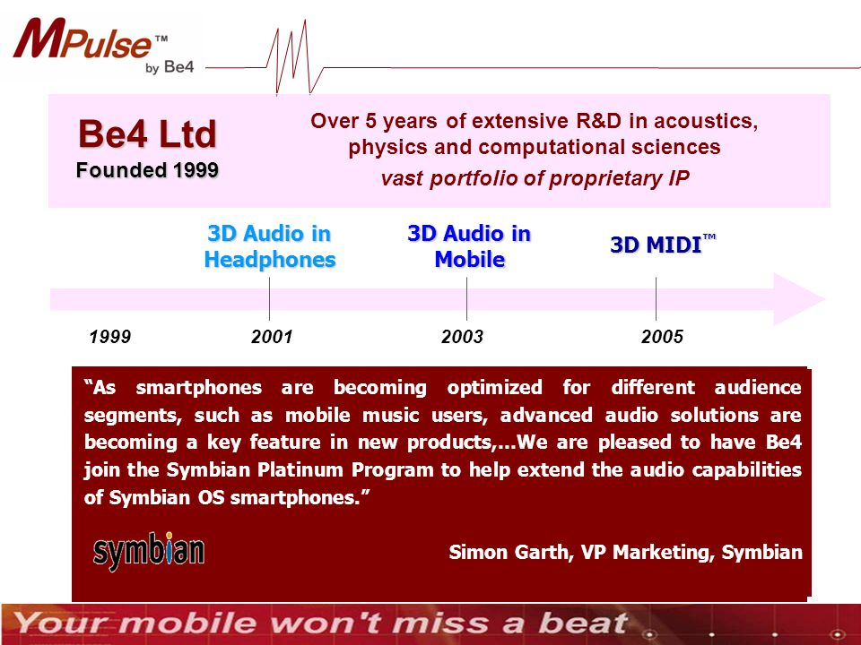 Over 5 years of extensive R&D in acoustics, physics and computational sciences vast portfolio of proprietary IP Be4 Ltd Founded 1999 1999200120032005 3D Audio in Headphones Our engineers chose Be4 as superior over Dolby and SRS.