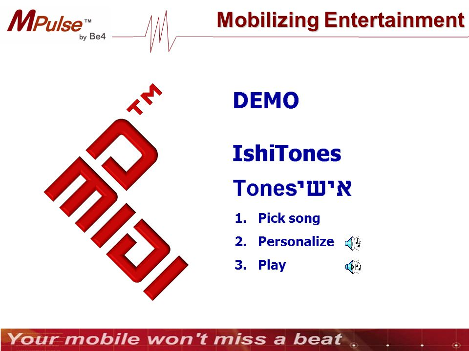 Mobilizing Entertainment 1.Pick song 2.Personalize 3.Play