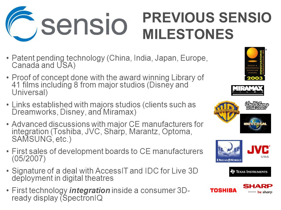 PREVIOUS SENSIO MILESTONES Patent pending technology (China, India, Japan, Europe, Canada and USA) Proof of concept done with the award winning Library of 41 films including 8 from major studios (Disney and Universal) Links established with majors studios (clients such as Dreamworks, Disney, and Miramax) Advanced discussions with major CE manufacturers for integration (Toshiba, JVC, Sharp, Marantz, Optoma, SAMSUNG, etc.) First sales of development boards to CE manufacturers (05/2007) Signature of a deal with AccessIT and IDC for Live 3D deployment in digital theatres First technology integration inside a consumer 3D- ready display (SpectronIQ