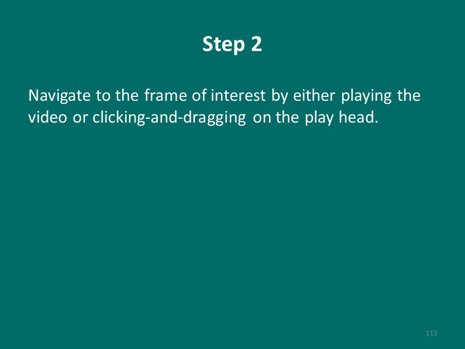 Step 2 Navigate to the frame of interest by either playing the video or clicking-and-dragging on the play head.