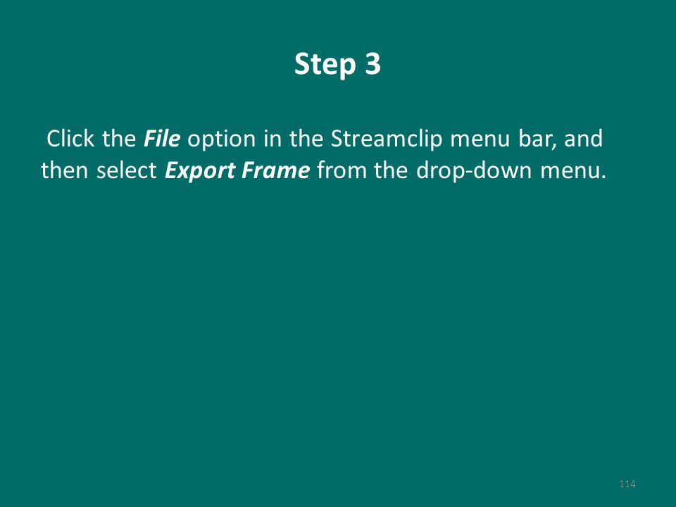Step 3 Click the File option in the Streamclip menu bar, and then select Export Frame from the drop-down menu.