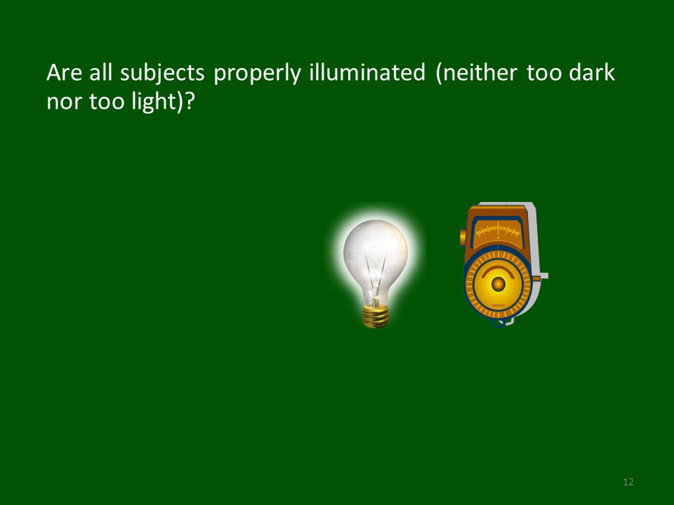 Are all subjects properly illuminated (neither too dark nor too light) 12