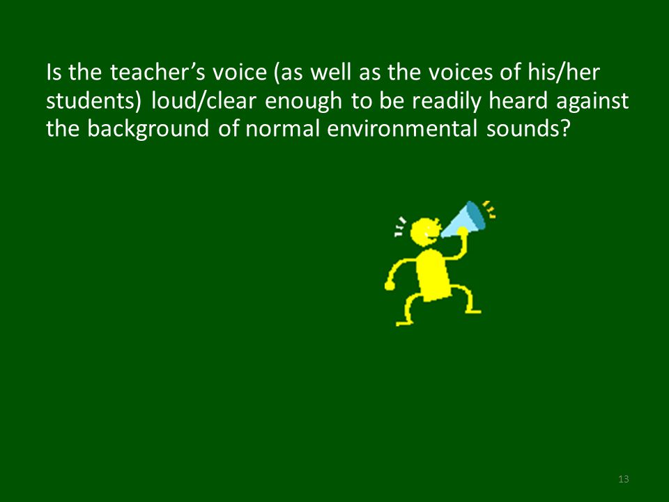 Is the teacher's voice (as well as the voices of his/her students) loud/clear enough to be readily heard against the background of normal environmental sounds.