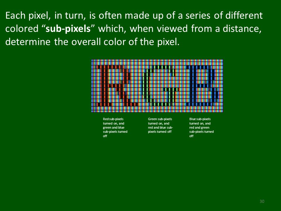 Each pixel, in turn, is often made up of a series of different colored sub-pixels which, when viewed from a distance, determine the overall color of the pixel.