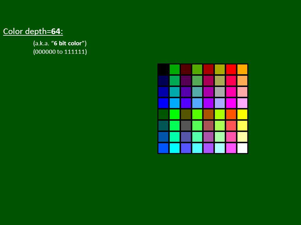 Color depth=64: (a.k.a. 6 bit color ) (000000 to 111111)
