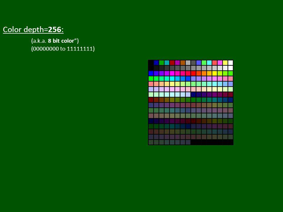 Color depth=256: (a.k.a. 8 bit color ) (00000000 to 11111111)