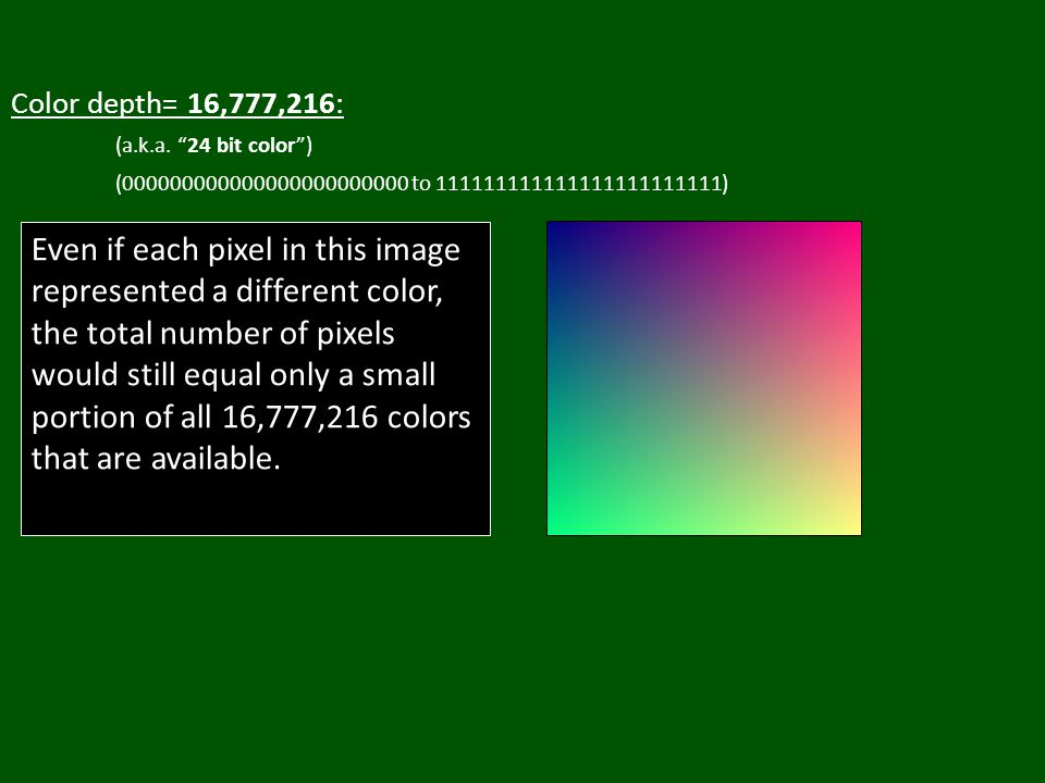 Color depth= 16,777,216: (a.k.a.