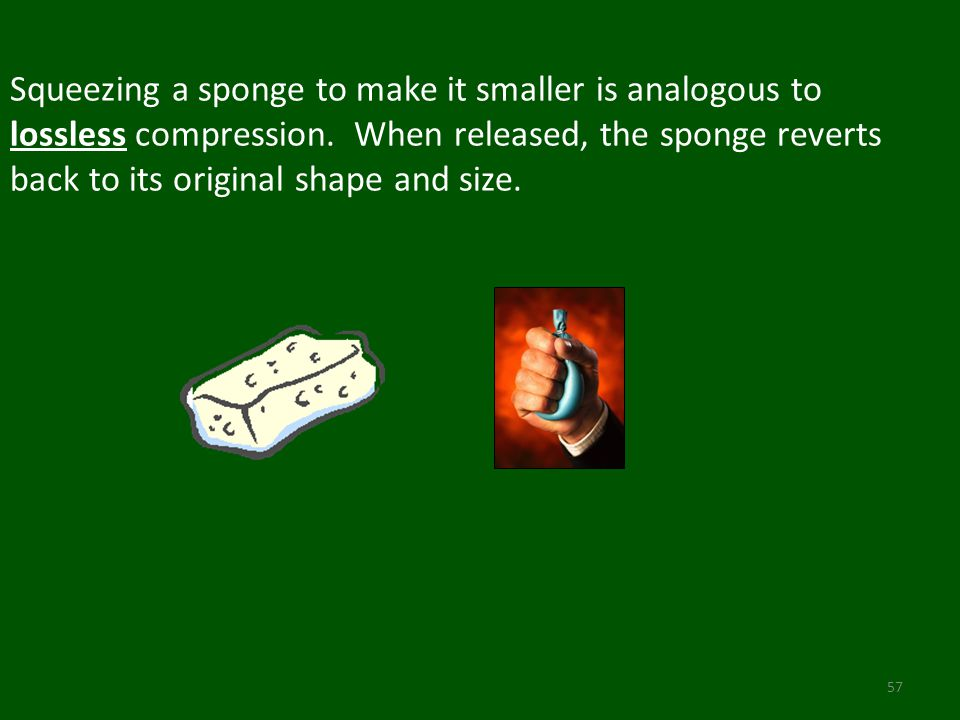 Squeezing a sponge to make it smaller is analogous to lossless compression.