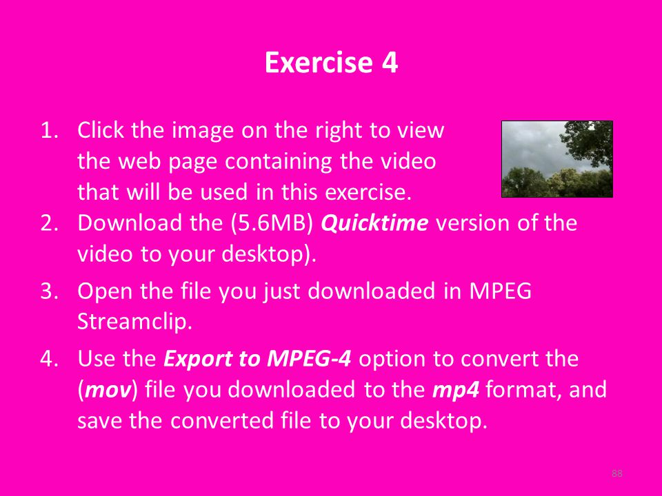 Exercise 4 2.Download the (5.6MB) Quicktime version of the video to your desktop).