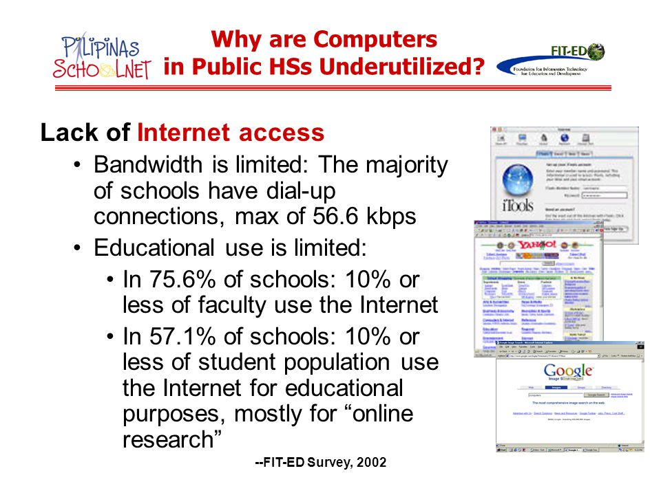 Generally low level of computing and Internet skills of teachers Percentage of schools by percentage of teachers with basic computing skills Percentage of schools by percentage of teachers with basic Internet skills --FIT-ED Survey, 2002 Why are Computers in Public HSs Underutilized?