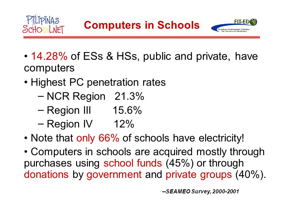 Recent National Government Computerization Projects DepED: 1996 to 2004, 3 Batches PCs for Public Schools of DTI: 2001 to 2005, 3 Batches DOST: periodically since 1994 Computers in Schools