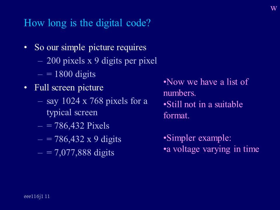 eee116j1 11 How long is the digital code.