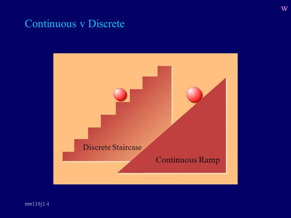 eee116j1 4 Continuous v Discrete Continuous Ramp Discrete Staircase w