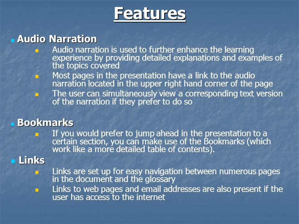 Proposed Direction Suggested Improvements to these Materials Suggested Improvements to these Materials Better quality of audio Improved audio playback capabilities Correct page layout view upon startup of program Quick navigation to previously viewed page Links to training videos Expanded glossary Any other improvements that can improve the educational value Future Focus of Learning Materials Future Focus of Learning Materials How to summarize data Case studies