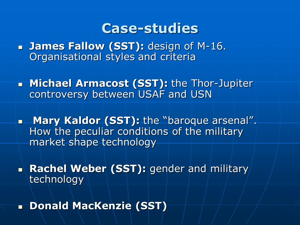 Case-studies James Fallow (SST): design of M-16. Organisational styles and criteria James Fallow (SST): design of M-16. Organisational styles and crit