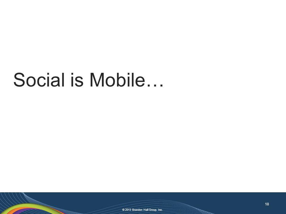 © 2013 Brandon Hall Group, Inc. Social is Mobile… 18