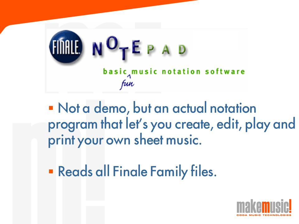  Not a demo, but an actual notation program that let's you create, edit, play and print your own sheet music.