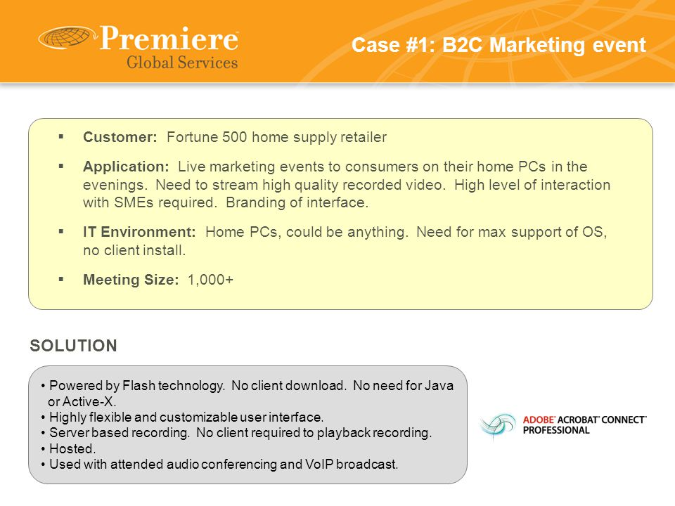 Case #1: B2C Marketing event Powered by Flash technology.