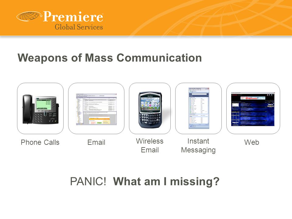 Weapons of Mass Communication Phone CallsEmail Wireless Email Web PANIC.