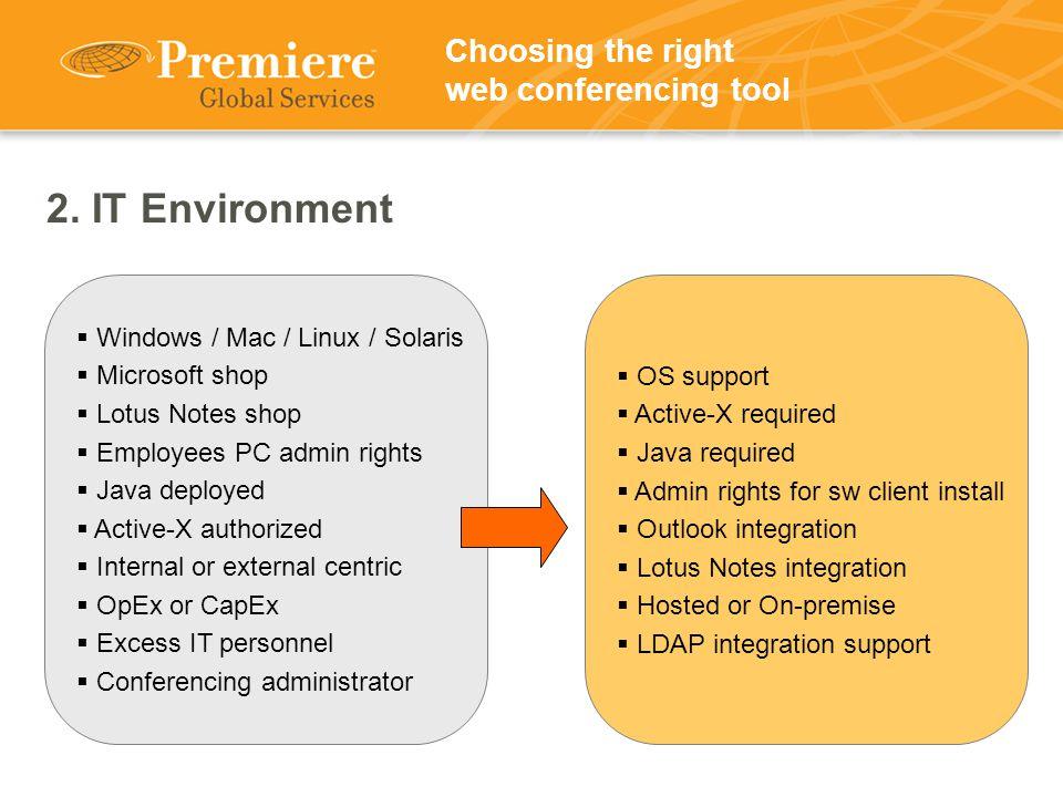 2. IT Environment  Windows / Mac / Linux / Solaris  Microsoft shop  Lotus Notes shop  Employees PC admin rights  Java deployed  Active-X authori