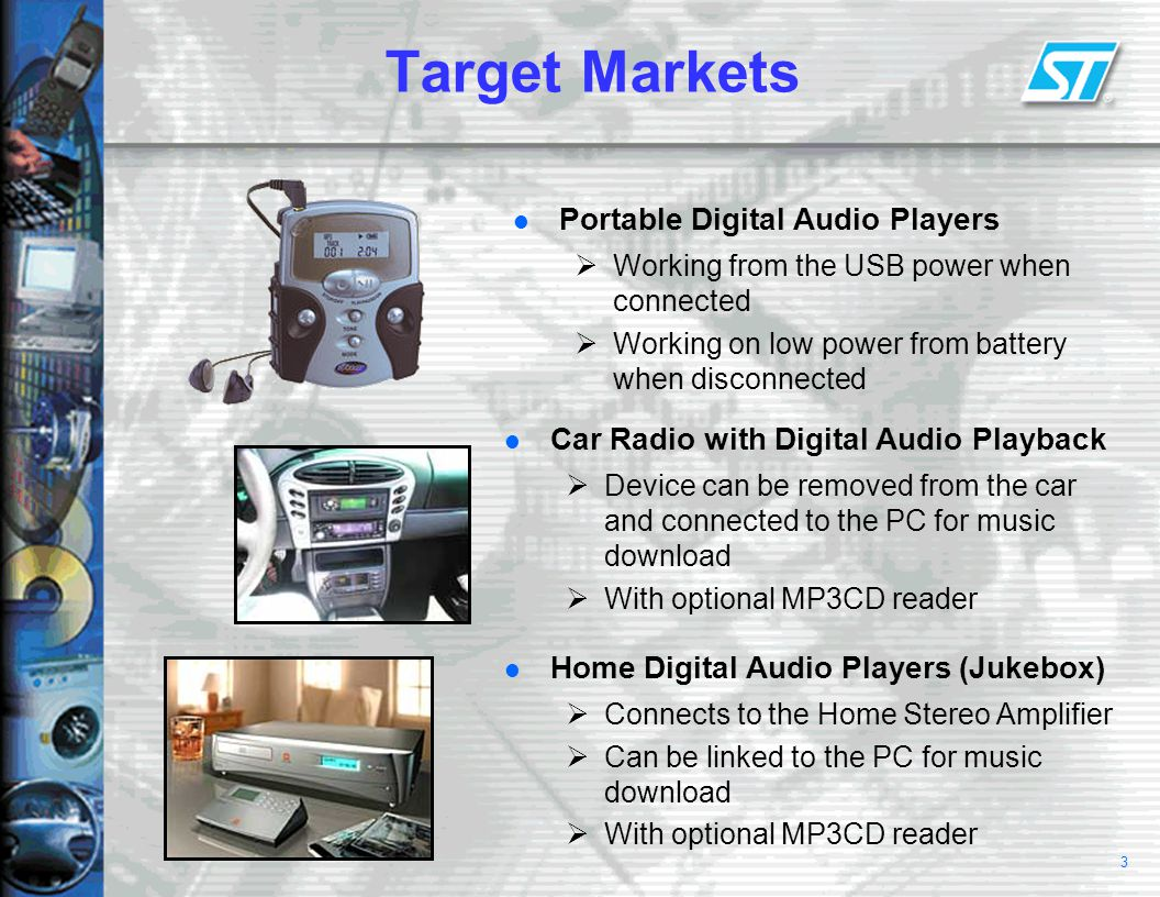3 Target Markets Portable Digital Audio Players  Working from the USB power when connected  Working on low power from battery when disconnected Car Radio with Digital Audio Playback  Device can be removed from the car and connected to the PC for music download  With optional MP3CD reader Home Digital Audio Players (Jukebox)  Connects to the Home Stereo Amplifier  Can be linked to the PC for music download  With optional MP3CD reader