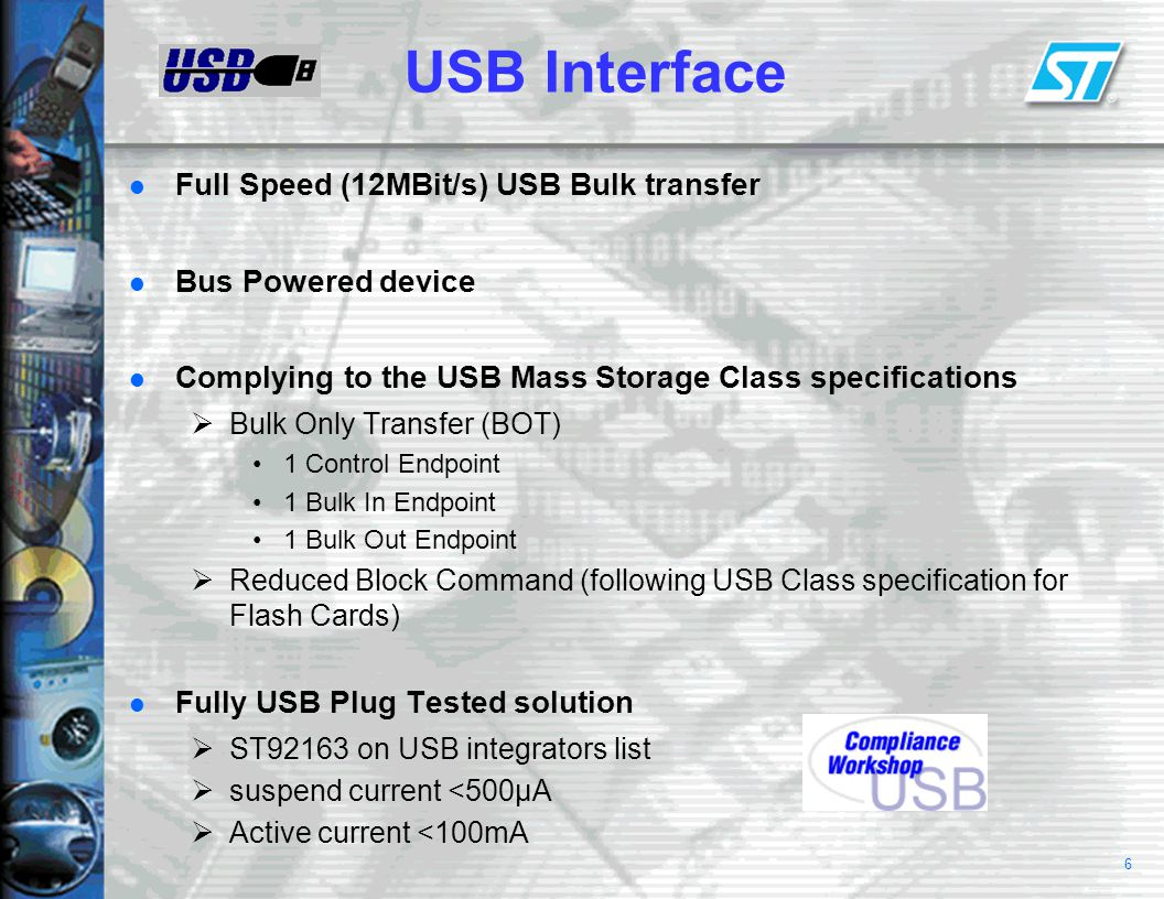 7 PC Side Integrates into windows explorer or user specific applet Supports all USB enabled operating systems  Support for windows 98 and 98SE ST provides class driver DLL and kernel SYS file  Support for windows 2000, millenium and MAC OS* USB mass storage class support native in the OS *CF and SMC only on MAC OS