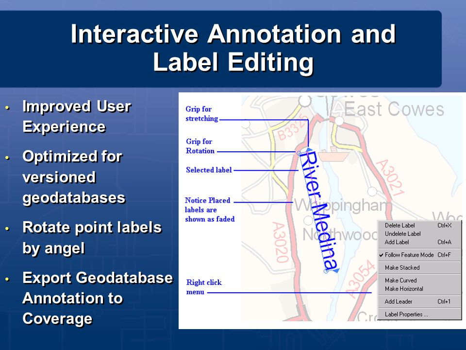 Interactive Annotation and Label Editing Improved User Experience Optimized for versioned geodatabases Rotate point labels by angel Export Geodatabase
