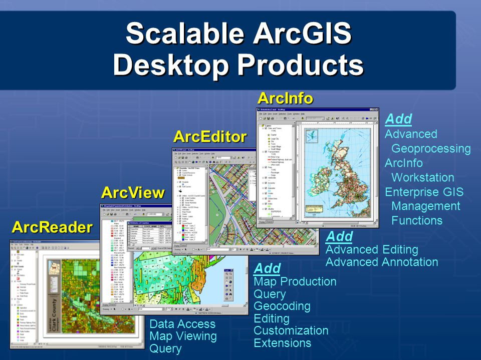 Scalable ArcGIS Desktop Products ArcView ArcEditor ArcInfo ArcReader Add Map Production Query Geocoding Editing Customization Extensions Data Access M