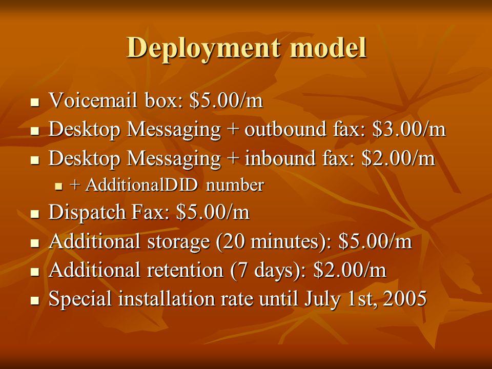 Deployment model Voicemail box: $5.00/m Voicemail box: $5.00/m Desktop Messaging + outbound fax: $3.00/m Desktop Messaging + outbound fax: $3.00/m Desktop Messaging + inbound fax: $2.00/m Desktop Messaging + inbound fax: $2.00/m + AdditionalDID number + AdditionalDID number Dispatch Fax: $5.00/m Dispatch Fax: $5.00/m Additional storage (20 minutes): $5.00/m Additional storage (20 minutes): $5.00/m Additional retention (7 days): $2.00/m Additional retention (7 days): $2.00/m Special installation rate until July 1st, 2005 Special installation rate until July 1st, 2005