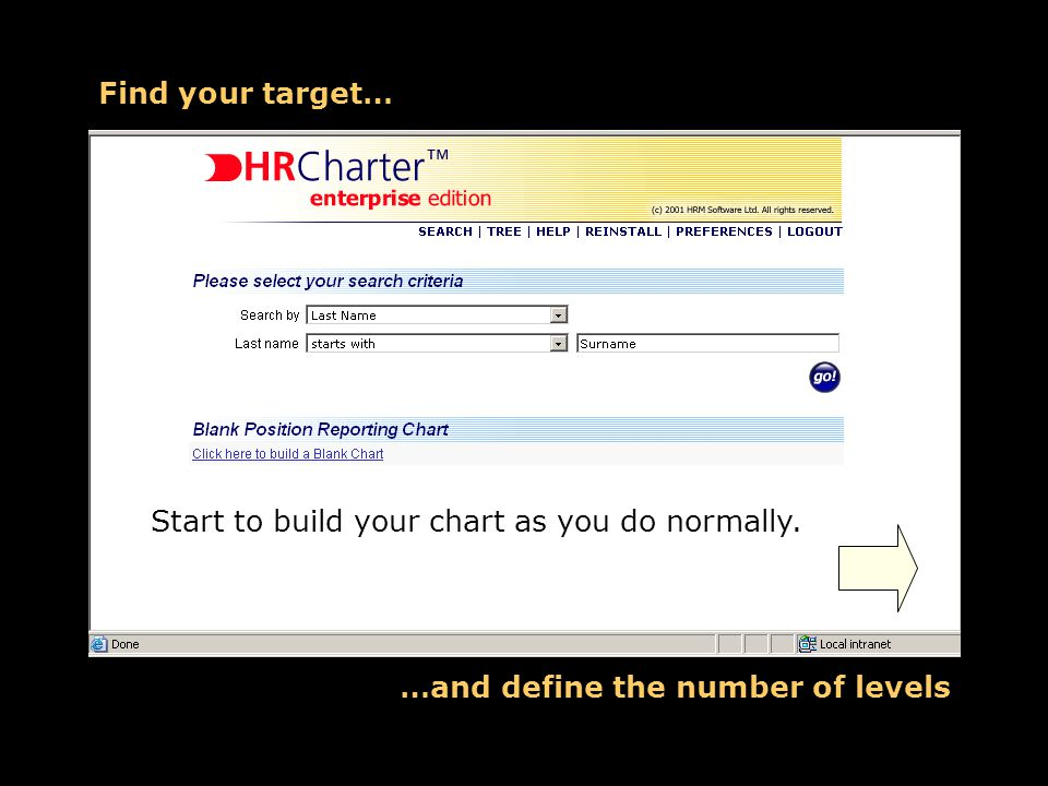Find your target… …and define the number of levels Start to build your chart as you do normally.